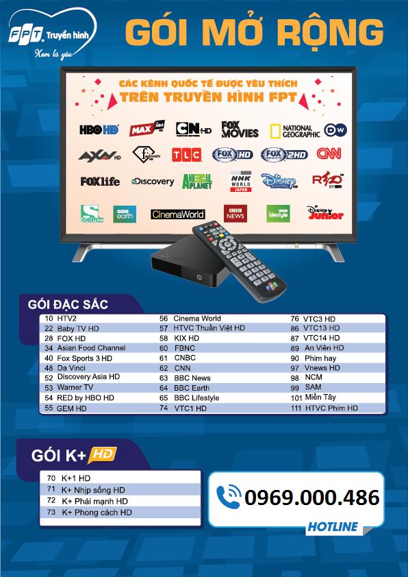 danh sách kênh truyền hình fpt mở rộng