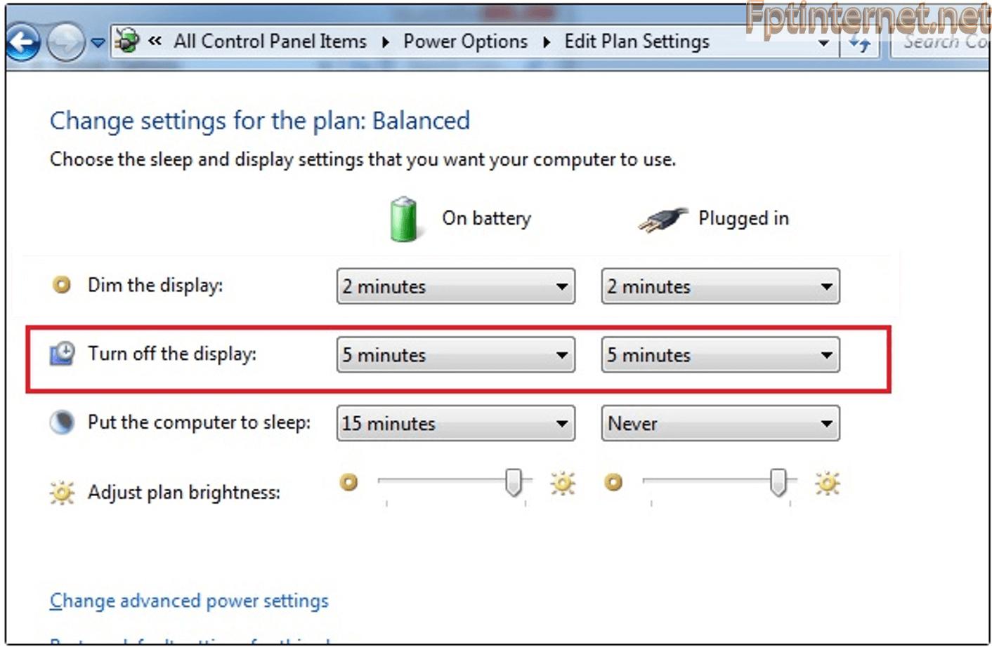 Hướng dẫn chỉnh thời gian tắt màn hình Win 15 FPT INTERNET - Lắp Mạng FPT - Lắp Wifi FPT - Lắp Internet FPT