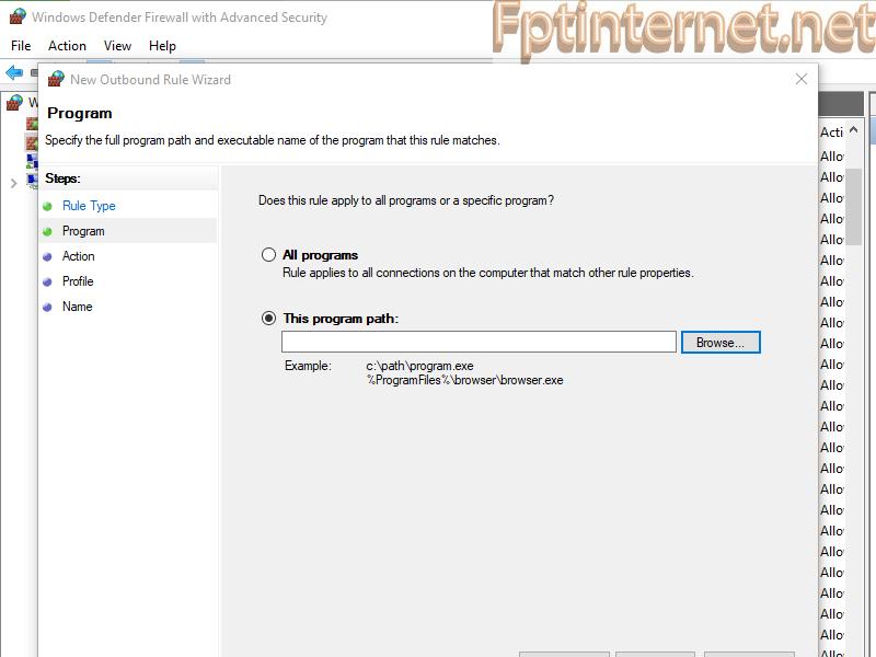 Chặn phần mềm kết nối internet